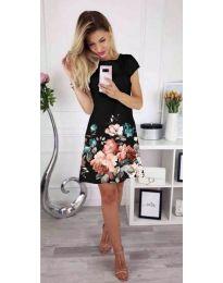Черна дамска рокля на цветя - код 026