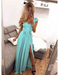 Елегантна рокля в тюркоаз - код 673
