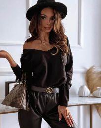 Атрактивна дамска блуза в черно  - код 12061
