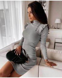 Елегантна рокля по тялото в сиво - код 8484