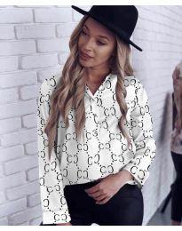 Дамска риза в бял цвят с ефектен десен - код 338