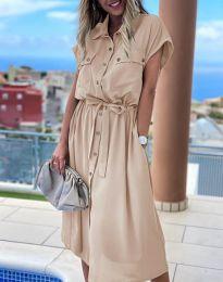 Свободна дамска рокля в бежово - код 6344