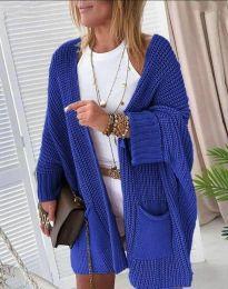 Стилна дамска жилетка в синьо - код 7593