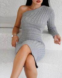 Дамска рокля в сиво с един ръкав - код 2588