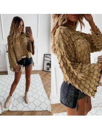 Ефектен дамски пуловер в цвят капучино - код 8092