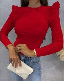 Дамска блуза с къдрички в червено - код 1663