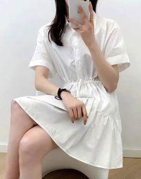 Разкроена дамска рокля в бяло - код 6292