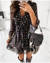 Ефирна черна рокля с десен на звездички - код 5258 - 3