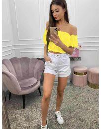 Дамска блуза с голи рамене в жълто - код 1162