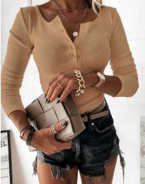 Дамска блуза с копчета в цвят капучино - код 1553