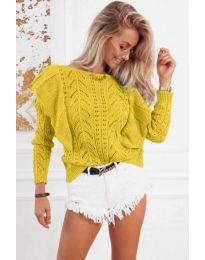 Ефектна плетена блуза в жълто - код 5321