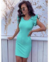 Изчистена рокля в цвят тюркоаз - 199