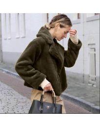 Дамско късо палто в тъмно кафяво - код 164