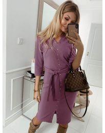 Ежедневна рокля с капси в лилаво - код 320