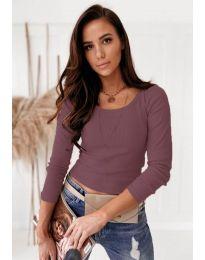 Изчистена дамска блуза в цвят пудра - код 8365