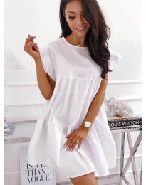 Разкроена рокля в бял цвят - код 3145