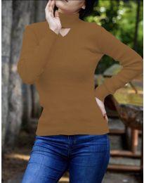 Дамска блуза с поло яка в кафяво - код 5191