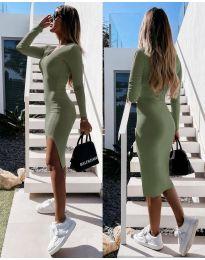 Стилна дамска рокля в масленозелено - код 8291