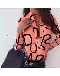 Дамска риза-боди в цвят корал със заоблени елементи - код 652