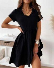 Свободна дамска рокля в черно - код 1679