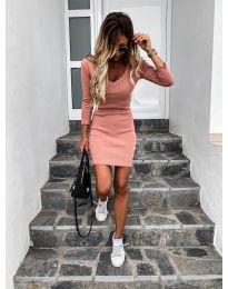 Изчистена рокля в цвят праскова - код 4040