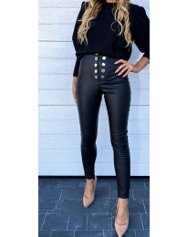 Черен панталон с копчета - код - 5643