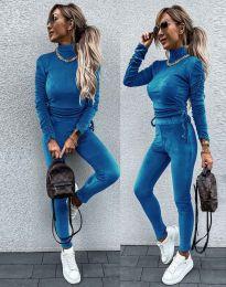 Дамски комплект блуза с поло яка и втален панталон кадифе в синьо - код 4871 - лице и гръб