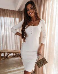 Дамска рокля в бяло с копчета при деколтето - код 1700