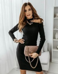 Атрактивна дамска рокля в черно - код 0984