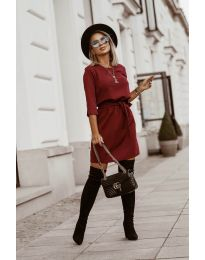 Дамска рокля в бордо - код 6100