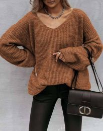 Дамски пуловер в кафяво - код 0866
