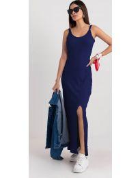 Дълга рокля с цепка в тъмно синьо - код 3000
