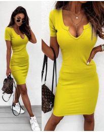 Изчистена рокля в жълто- код 8829