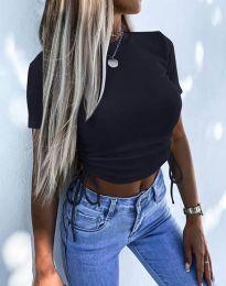 Къса дамска тениска в черно - код 2425