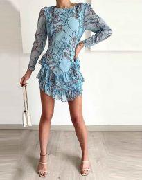 Феерична рокля в синьо с атрактивен десен - код 3610