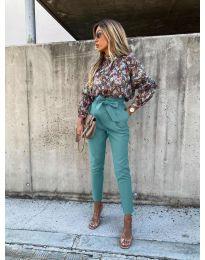 Елегантен панталон в цвят тюркоаз - код 788