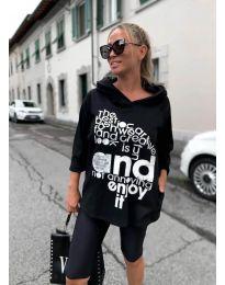 Дамска блуза с принт в черно - код 5465