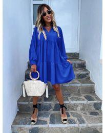 Свободна дамска рокля в синьо - код 6643