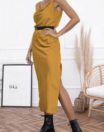 Дамска рокля в цвят горчица - код 6231