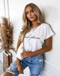 Дамска тениска с принт в бяло - код 4804