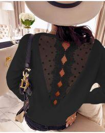 Дамска блуза с дантела в черно  - код 7077