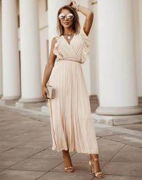 Елегантна дамска рокля с колан в бежово - код 3320