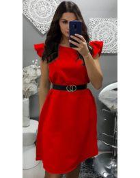 Елегантна рокля с къс ръкав в червено - код 703