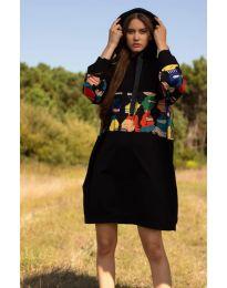 Свободна дамска рокля в черно - код 4546 - 3