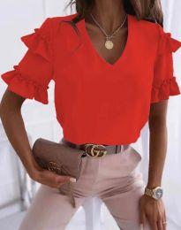 Дамска блуза в червено с къдрички - код 2670