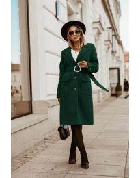 Дълго дамско палто в маслено зелено - код 5657