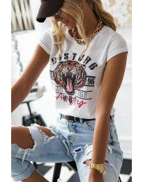 Дамска тениска в бяло - код 3023