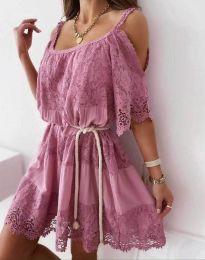 Атрактивна рокля в цвят пудра с дантела - код 6954