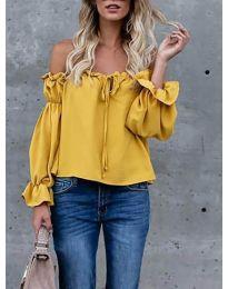 Блуза с лодка деколте в цвят горчица - код 5574