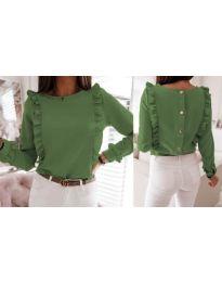 Дамска блуза в маслено зелено - код 4171